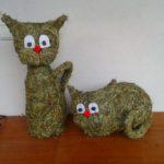 Kočky | Výrobky z výtvarné dílny | Výrobky ze sena